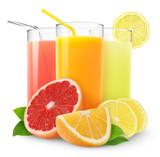 Fototapety Isolated citrus juice. Three glasses with orange, grapefruit and lemon juice and cut fruits isolated on white background