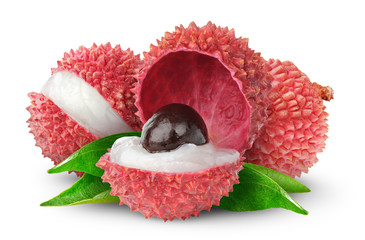 Fresh lychee isolated on white