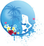 Girl on round blue tropical banner