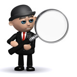 3d Banker and a magnifying glass poster