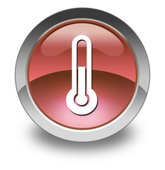 "Red Glossy Pictogram ""Thermometer / Temperature"""