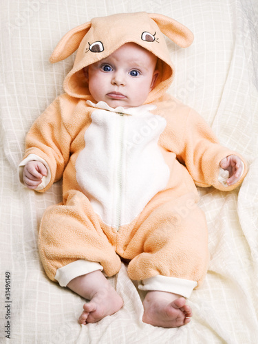 Little baby girl in bunny costiume