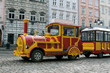 Sightseeing tourist train car in Lviv, Ukraine