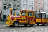 Sightseeing tourist train car in Lviv, Ukraine poster