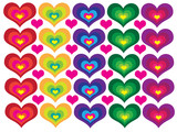 Symmetry colored hearts poster