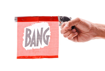 """Bang"" Red Flag of a Toy Pistol"