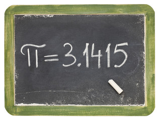 the number pi on a small blackboard