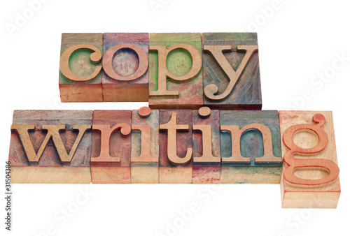 copywriting word in letterpress type