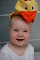cute baby in chicken-hat