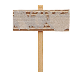 cardboard sign isolated on a white background