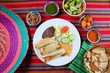 Burritos mexican rolled food rice salad and frijoles