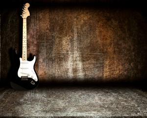 guitar in steel room