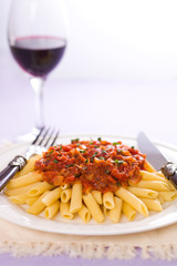 Arrabiatta pasta and wine