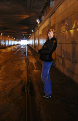 The girl in the shined tunnel, Moscow, Russia