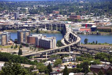 Traffic & freeways Portland Oregon.