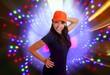 Beautiful Latin teen hispanic girl orange cap posing