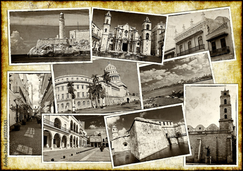 Old postcards of Havana on a grunge background