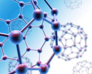 Abstract molecule background blue