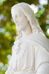 Statue of Jesus Christ with a beautiful diffused background