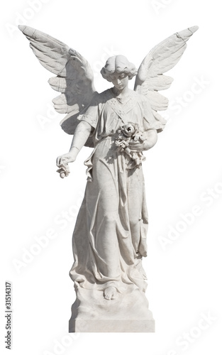 Statue of a young angel isolated on white with clipping path - 31514317