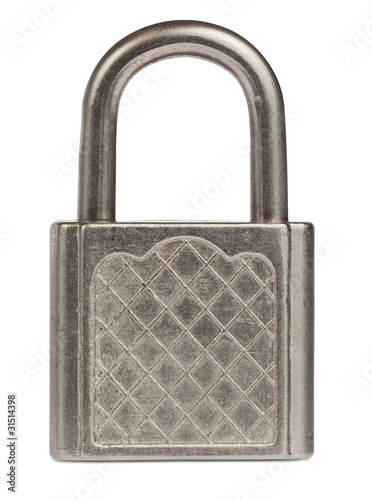 Closed steel padlock isolated on white with clipping path