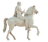 Ancient roman statue of a naked horse rider isolated on white
