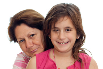 Latin grandmother and girl isolated on a white background