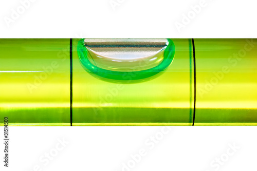 Green bubble level isolated on a white background with clipping