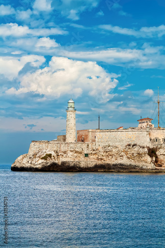 The castle of El Morro in Havana with a beautiful sky