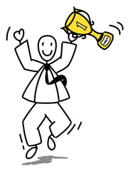 Homme d'affaire sautant de joie avec une coupe en or