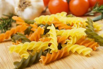 Raw tricolore pasta