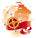 Adventures design - compass rose, banner & sailing ship poster