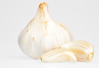 Garlic bulb on a white background