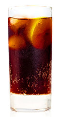 Isolated glass containing a Cuba Libre drink isolated on a white