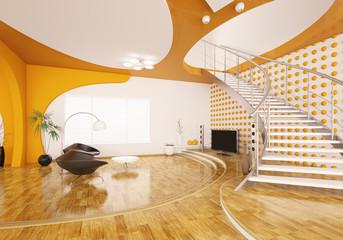 Wohnzimmer mit Treppe Interior 3d render