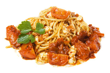 Spaghetti pasta with cheese and tomato sauce