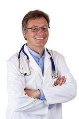 Glücklich, lachender Arzt mit Stethoskop blickt selbstbewußt