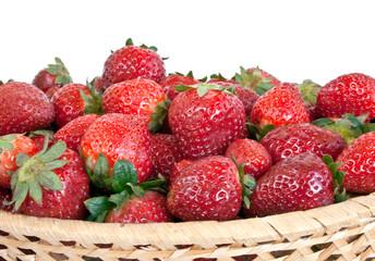 Strawberry on wicker bowl