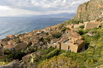 Medieval era fortified village of Monemvasia at Greece