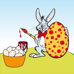 Coniglio pittore, illustrazione per Pasqua