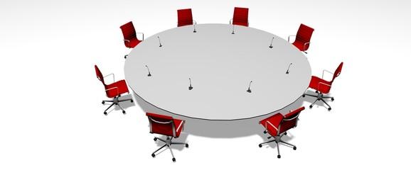 Mesa redonda con sillas rojas