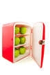 refridgerator with green apples