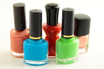 phials of multicolor nail enamels