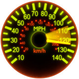 Illustration of a speedometer.