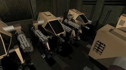Army of robots in futuristic scene