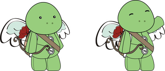turtle cupid cartoon set