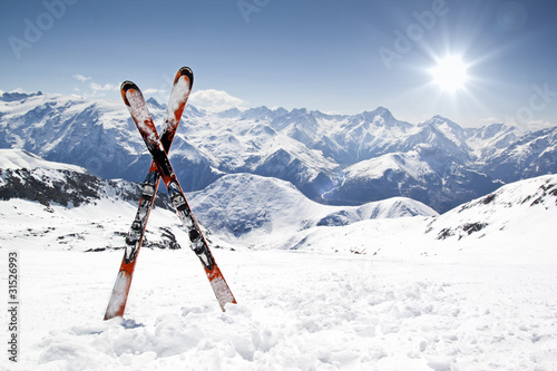 Fotobehang Wintersporten Pair of cross skis