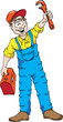 Cartoon of a happy plumber