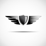 Black Logo shield and wings # Vector