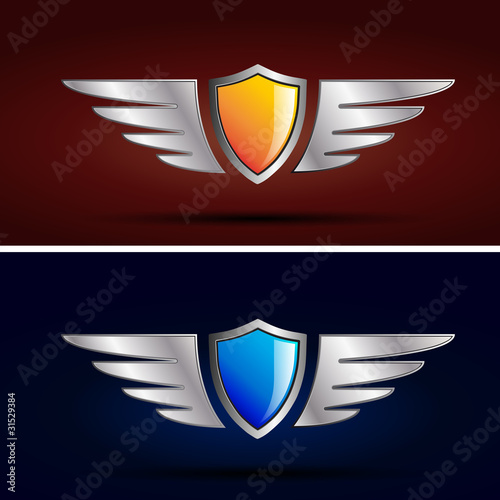 Red Wings Logos Logo Shield And Wings Vector